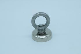 Магнит неодимовый. Диск D25 в корпусе с кольцом (16 кг)