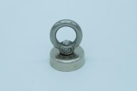 Магнит неодимовый. Диск D20 в корпусе с кольцом (7 кг)