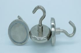Магнит неодимовый. Диск D42 в корпусе с крючком (32 кг)