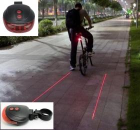 Вело фонарь задний 5 LED с лазером