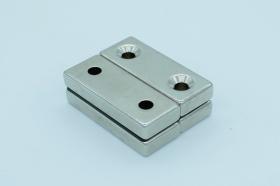 Магнит неодимовый 50х20x9,5 мм с двумя отверстиями 5 мм