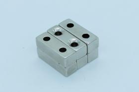 Магнит неодимовый 30х10x10 мм, с двумя отверстиями 4 мм