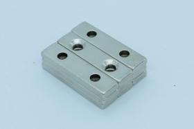 Магнит неодимовый 40х10x3,5 мм, с двумя отверстиями 4 мм