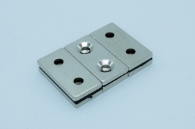 Магнит неодимовый 40х20x4 мм, с двумя отверстиями 6 мм