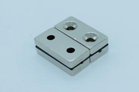 Магнит неодимовый 40х20x7,6 мм, с двумя отверстиями 6 мм